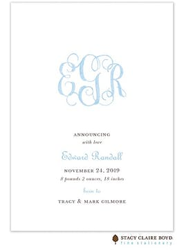Powdered Monogram - Blue Boy Birth Announcement