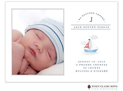 Smooth Sailing - Blue Boy Photo Birth Announcement