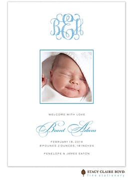 Sweet Welcome - Blue Boy Photo Birth Announcement