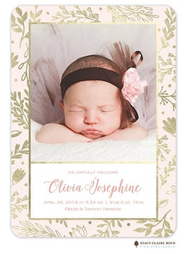 Gilded Garden Photo Birth Announcement