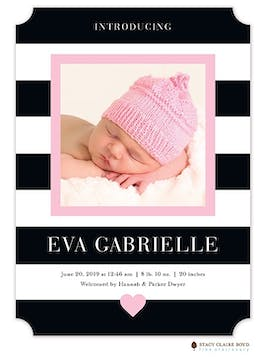 Modern Heart Pink Photo Birth Announcement