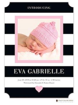 Modern Heart Pink Photo Birth Announcement