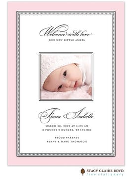 Softly Stated - Pink Girl Photo Birth Announcement