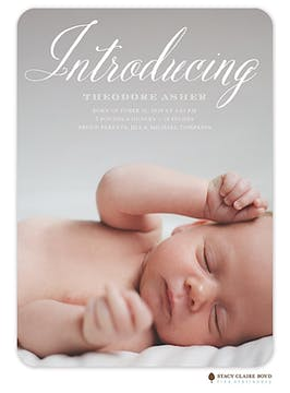 Sweet Introduction Photo Birth Announcement