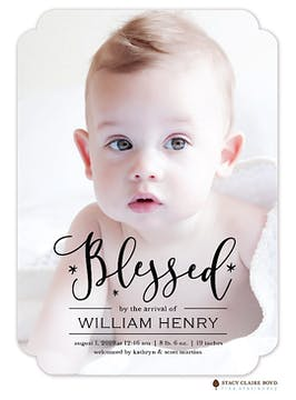 Brightly Blessed Photo Birth Announcement