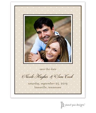 Tiny Dots Latte & White Flat Photo Save The Date Card