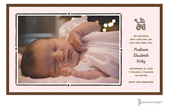 Vintage Frame Pink & Chocolate Flat Photo Birth Announcement