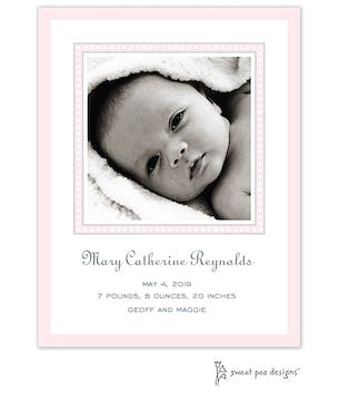 Dotted Border Pink & Silver Flat Photo Birth Announcement