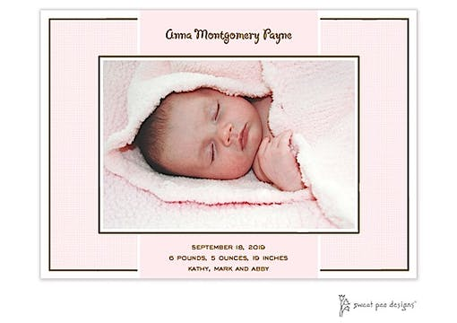 Linen Pink Flat Photo Birth Announcement