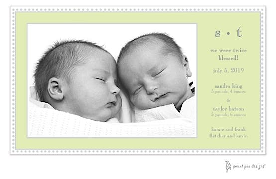 Antique Bead Border Lime Flat Photo Birth Announcement