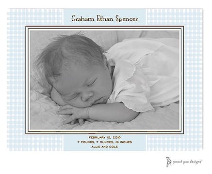 Gingham Blue Flat Photo Birth Announcement