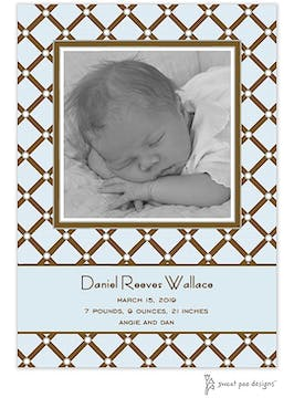 Square Diamonds Blue Photo Birth Announcement