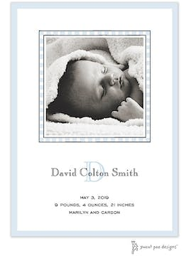 Simple Edge Blue Flat Photo Birth Announcement