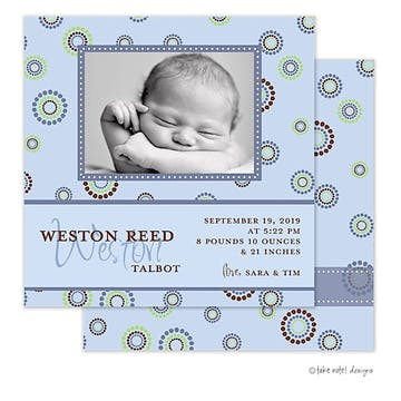 Weston Reed Boy Photo Square Birth Announcement
