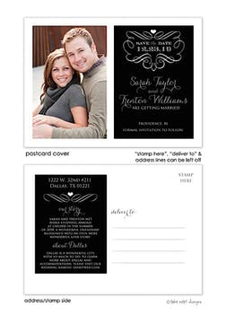 Black Filigree Story Save The Date Postcard