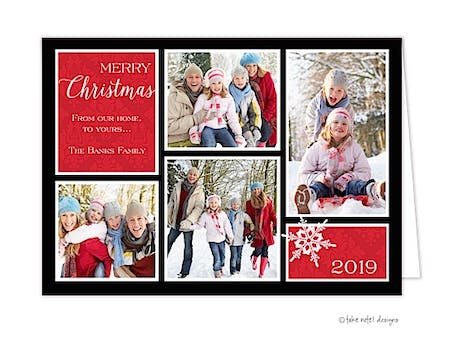 Damask Corners Red Folded Photo Holiday Card