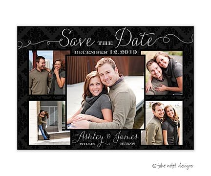 Damask Beautiful Photo Layout Save The Date Photo Magnet