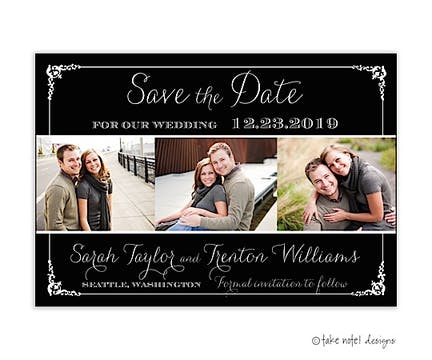 Save The Date Tri-Photo Photo Magnet