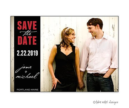 Custom Band Over Full Photo Save The Date Photo Magnet