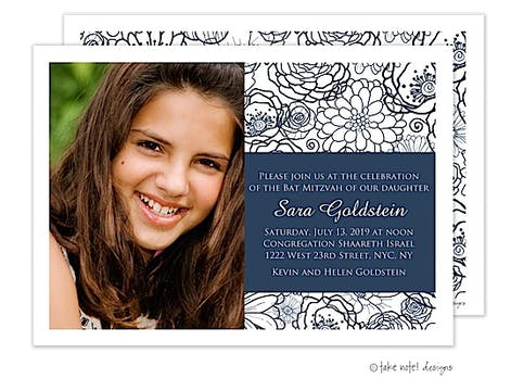 Navy Preppy Floral Photo Card
