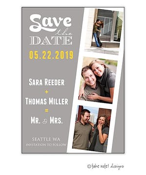 Grey Film Strip Save The Date Photo Magnet