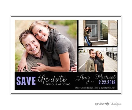 Custom Fit 3 Photo Block Save The Date Photo Magnet