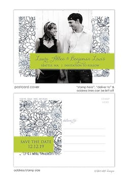Navy Floral Bunch Save The Date Postcard