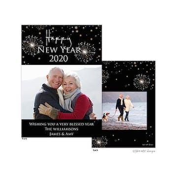 Happy New Year celebration Flat Photo Holiday Card