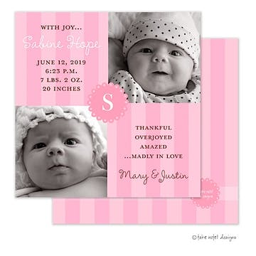 Sabine Hope Girl Photo Square Birth Announcement