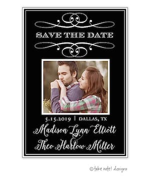 Scroll Classic Save The Date Photo Magnet