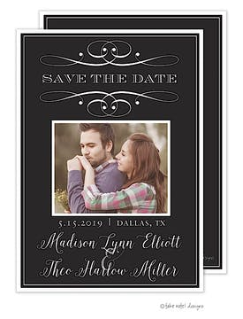 Scroll Classic Save The Date Photo Card