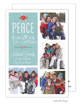 Peace, Hope & Joy Poinsettia Vertical Flat Photo Holiday Card