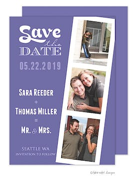 Film Strip Purple Photo Save The Date