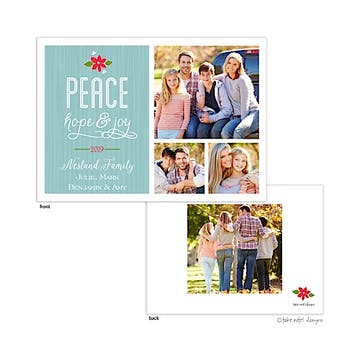 Peace, Hope & Joy Poinsettia Flat Photo Holiday Card