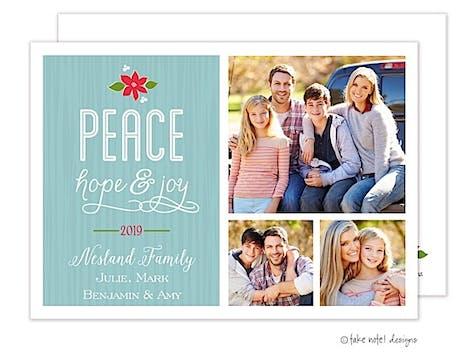 Peace, Hope & Joy Poinsettia Flat Photo Holiday Card