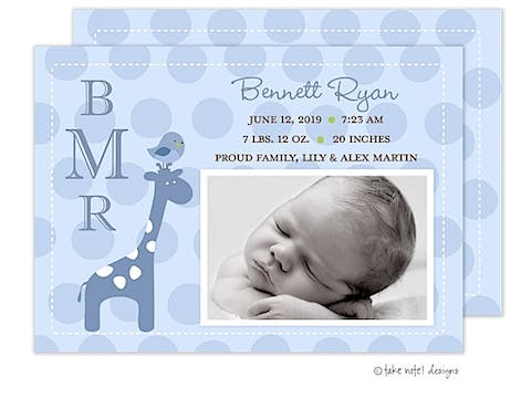 Bennett Ryan Boy Photo Birth Announcement