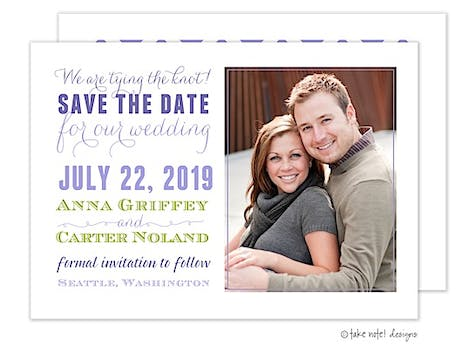 Subway Purple and Lime Photo Save The Date