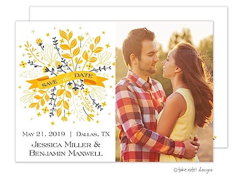 Yellow And Grey Bunch Banner Save The Date Photo Card