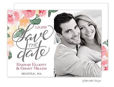 Watercolor Floral Script Save The Date Photo Card