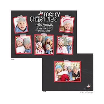 Chalkboard Taped Snapshots Flat Photo Holiday Card