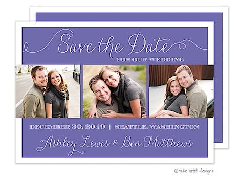 Purple Three Photo Save The Date