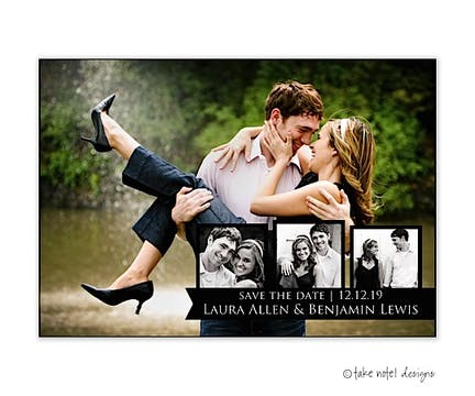 Black Tag Trio Overlay Save The Date Photo Magnet