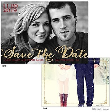 Golden Script Overlay Save The Date Photo Card