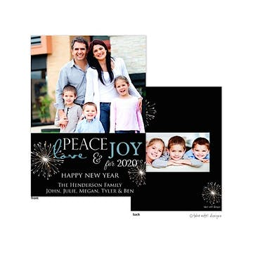 Peace Love and Joy for the new year Flat Photo Holiday Card