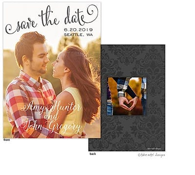 Save The Date Script Vertical Save The Date Photo Card