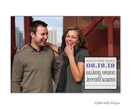 Full Photo Simple Box Save The Date Photo Magnet