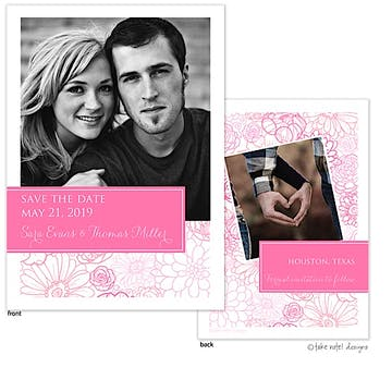 Pink Floral With Tag Save The Date Photo Card