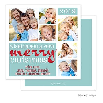 Wishing You a Merry Christmas Block Holiday Square Flat Photo Card