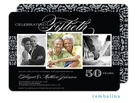 Anniversary Damask Photo Invitation