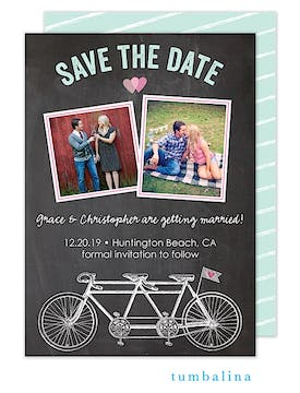 Bicycles Chalkboard Photo Save The Date Card